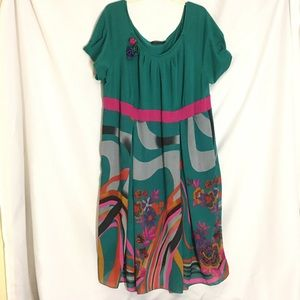 Igigi Green Pink Floral Fit & Flare Dress Sz 22/24